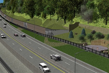Route 28_PennDOT An artist's rendering of the planned retaining wall along the redesigned Route 28 at Troy Hill approaching Downtown. It will feature six murals and, on the former site of St. Nicholas Church, a seating area.