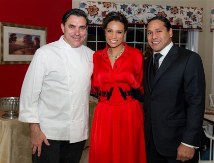 English Chef Todd English with Theodora and Troy Polamalu,