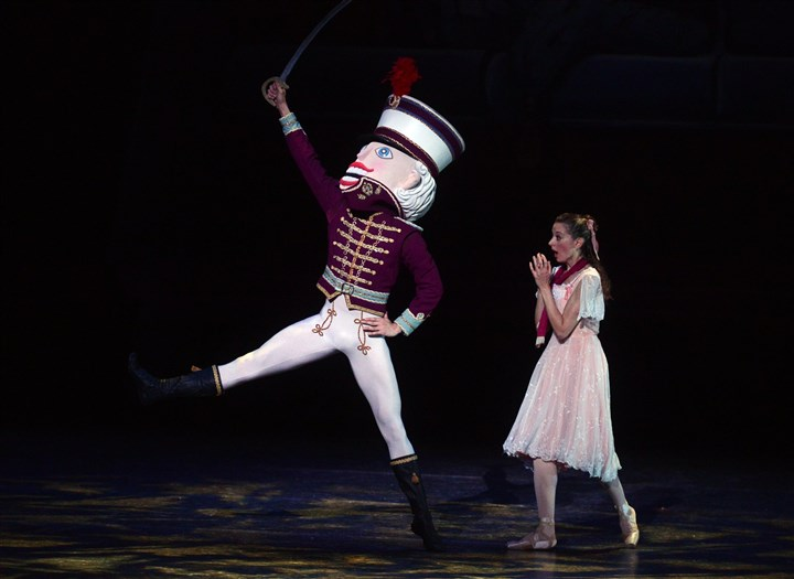 "PBT 'Nutcracker' and Marie Yoshiaki Nakano, who plays the Nutcracker, and Alexandra Kochis, as Marie, perform a scene in Pittsburgh Ballet Theatre's ""The Nutcracker."""