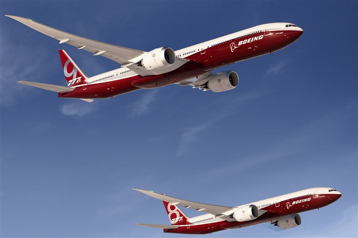 9kw00mw4-3 An artist's concept provided by The Boeing Co. is the 777-9X, the largest of the aerospace company's new family of 777X jetliners.