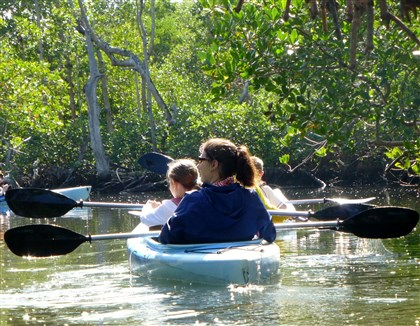 "20131210hofortmyers1215vtravel-2 Kayakers paddle through a peaceful mangrove forest in the J.N. ""Ding"" Darling National Wildlife Refuge on Sanibel Island."