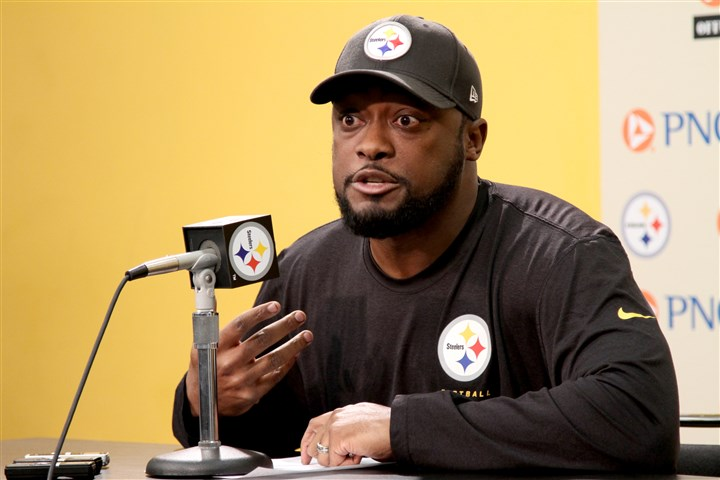 20131210arTomlin01 Steelers coach Mike Tomlin speaks to the media during his weekly press conference Tuesday at the Steelers South Side training facility.