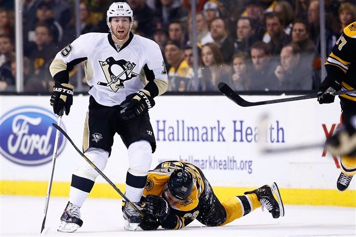 pens2 James Neal hit Boston's Brad Marchand with his left knee while Marchand was down on the ice Saturday -- the move that brought Neal a five-game suspension that began Monday night at Columbus.