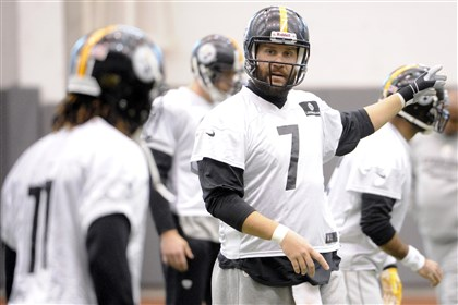 20131211lfSteelersSports03-2 Steelers quarterback Ben Roethlisberger talks to wide receiver Markus Wheaton during practice at the team's South Side facility on Wednesday.