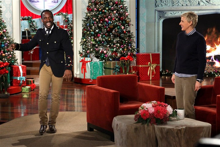 "121113_mccutchen03.jpg Pirates centerfielder Andrew McCutchen dances on stage at ""Ellen"" with host Ellen DeGeneres before he surprised his girlfriend, Maria Hanslovan, with a proposal."
