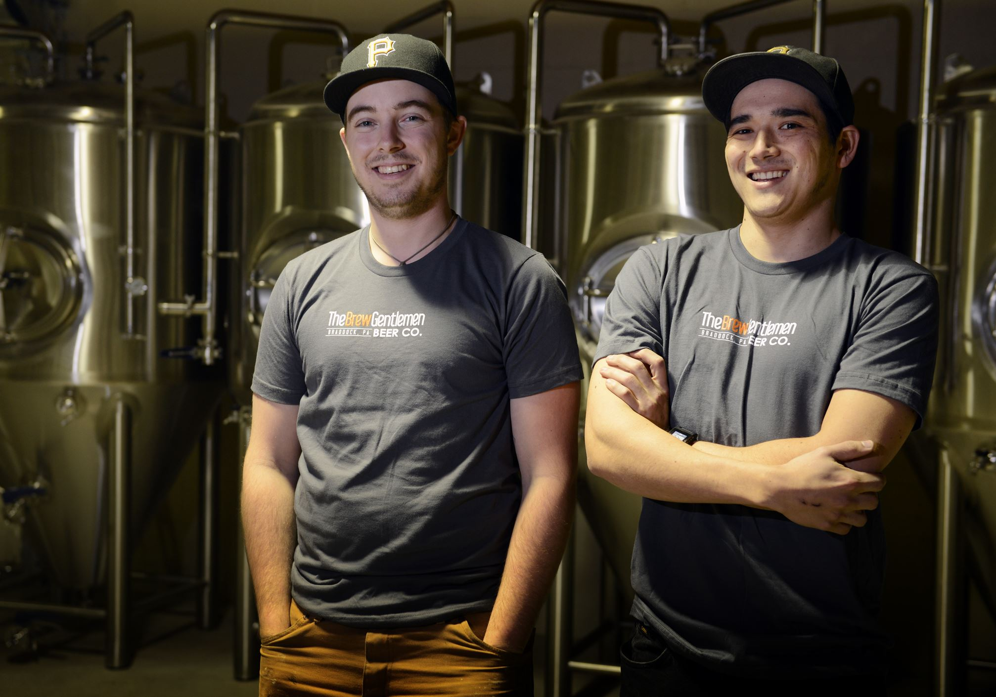201131211bwBeerMag01 Asa Foster, left, and Matt Katase in front of their fermenters for their Braddock company, The Brew Gentlemen Beer Company.