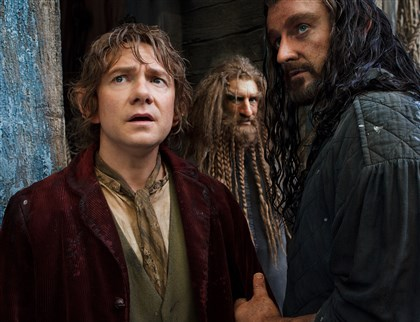"hobbit From left, Martin Freeman, Jed Brophy and Richard Armitage in ""The Hobbit: The Desolation of Smaug."""