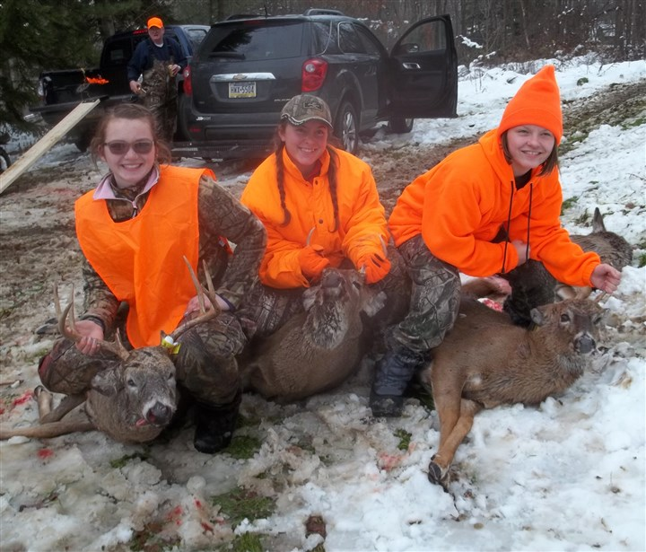 20131213hoDEERmorgan From left, Samantha Morgan, 17; Mekenzie Saban, 15; and Samantha Stromberg, 10, of North Side, show off their deer.