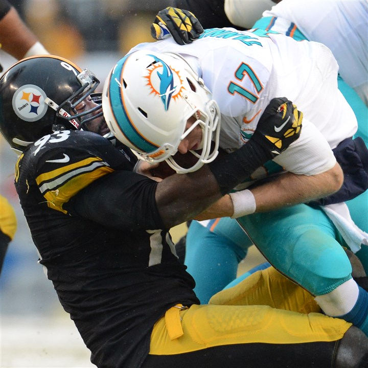 Steelers Jason Worilds Steelers Jason Worilds sacks Dolphins quarterback Ryan Tannehill in the first quarter of a game in December at Heinz Field.