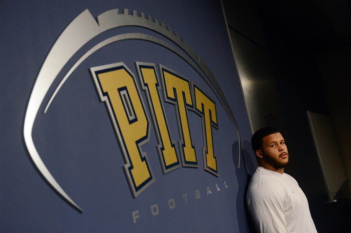 Aaron Donald Pitt football player Aaron Donald poses for a portrait inside the team's South Side facility in December.