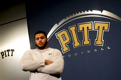 20131213MWHpittSports02 University of Pittsburgh football player Aaron Donald poses for a portrait inside the team's South Side facility.