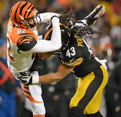 gene1216a Steelers Troy Polamalu defends Bengals marvin Jones in the first half at Heinz Field PIttsburgh PA