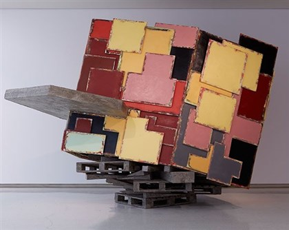 "20131216untitled Phyllida Barlow's three-dimensional piece, ""Untitled: upturnedhouse"" (2012)."