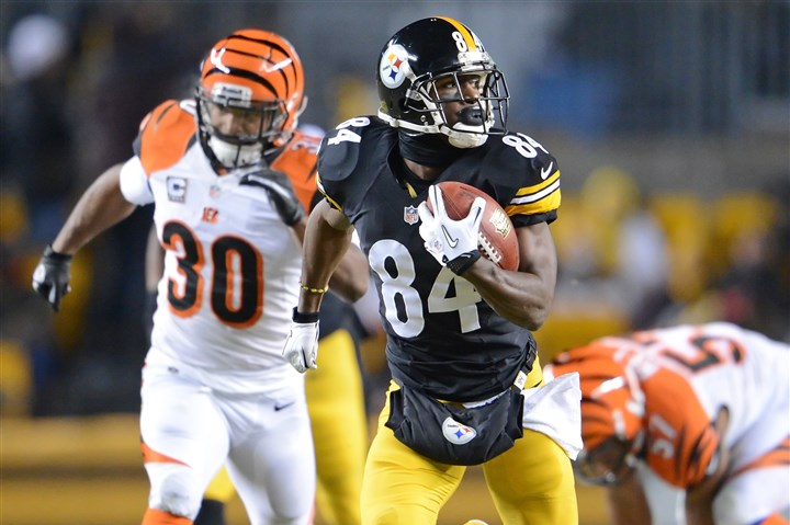 cook1216a Steelers wide receiver Antonio Brown takes a look behind him as he heads to the end zone after scoring his second touchdown of the game against the Bengals at Heinz Field in Pittsburgh, Pa.