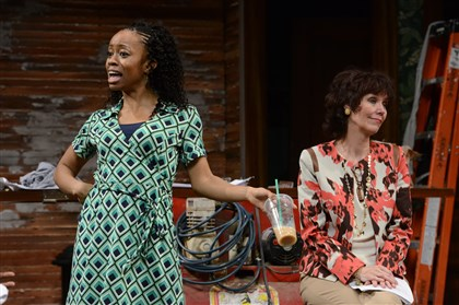 "clybournepark.jpg The cast of Pittsburgh Public Theater's fine production of ""Clybourne Park"" included chandra thomas, left, and Lynne Wintersteller."
