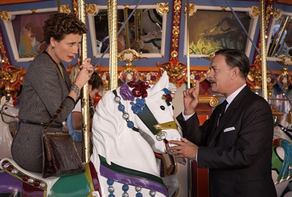 "Banks P.L. Travers (Emma Thompson), left; Walt Disney (Tom Hanks), right, ""Saving Mr. Banks."""