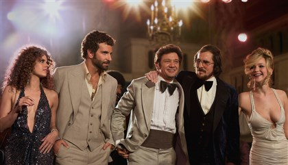 "americanhustle4.jpg From left, Amy Adams, Bradley Cooper, Jeremy Renner, Christian Bale and Jennifer Lawrence in ""American Hustle."""