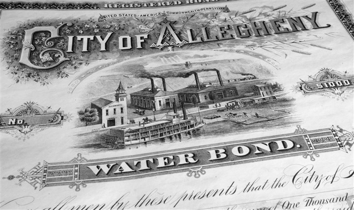 A City of Allegheny Water Bond from 1891 A City of Allegheny Water Bond from 1891.