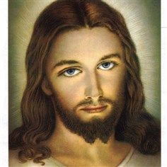 JesusWhite1222 A typical traditional European depiction of Jesus, showing him with fair skin and blue eyes.