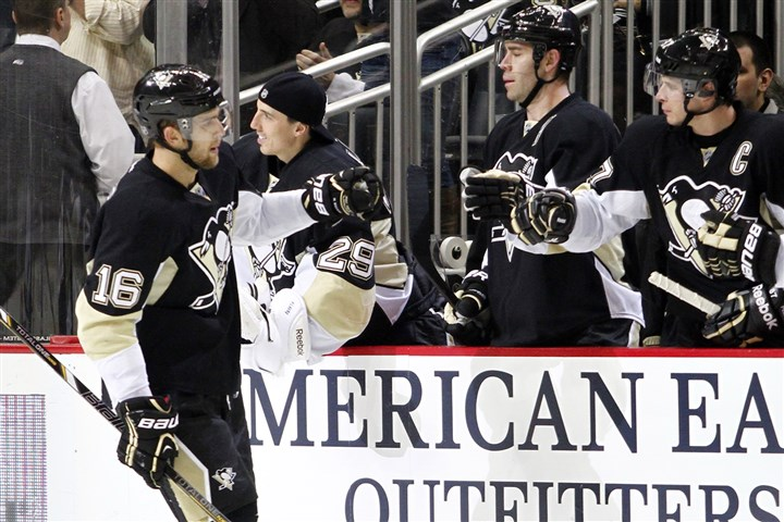 Brandon Sutter Brandon Sutter celebrates after scoring a second period goal against the Minnesota Wild during the game at Consol Energy Center on December 19, 2013.