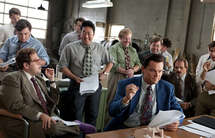 "THE WOLF OF WALL STREET From left, Jonah Hill is Donnie Azoff, Kenneth Choi is Chester Ming, Leonardo DiCaprio is Jordan Belfort, Henry Zebrowski is Alden Kupferberg, P.J. Bryne is Nicky Koskoff, and Ethan Suplee is Toby Welch in ""The Wolf of Wall Street."""