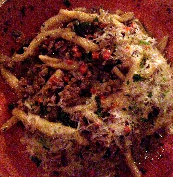"dirtypasta Ground duck with strozzapretti and Grana Padano cheese is called ""dirty pasta"" at Butcher and the Rye."