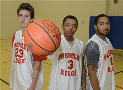 20131206lfPressleyRidgeSports07 From left: Dante Yobst, 17, Kurtis Haddock, 15, and Sha'Ron Williams, 18, arrived at Pressley Ridge because of behavior issues and became basketball teammates.