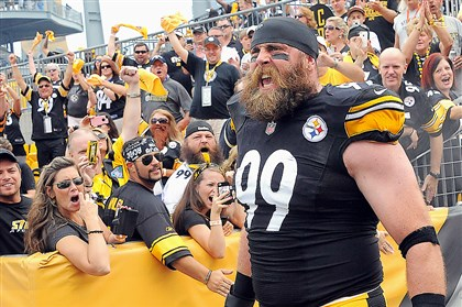 steelers_keisel_opener.jpg Brett Keisel makes his way onto the field for the Steelers home opener last season.