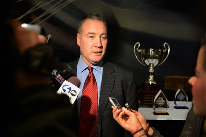 rmuhockey1227 Robert Morris hockey coach Derek Schooley speaks with the media before a dinner Thursday at Consol Energy Center.