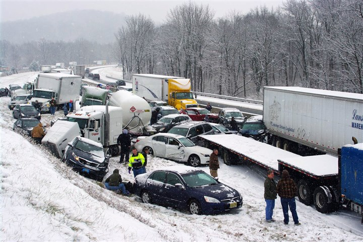 Highways Shutdown Vehicles are piled up at mile marker 286 on the Pennsylvania Turnpike, a mile outside Reading. Portions of both the Pennsylvania Turnpike and Interstate 78 were shut down in snowy eastern Pennsylvania on Thursday after chain-reaction pileups involved dozens of vehicles on slippery roads.