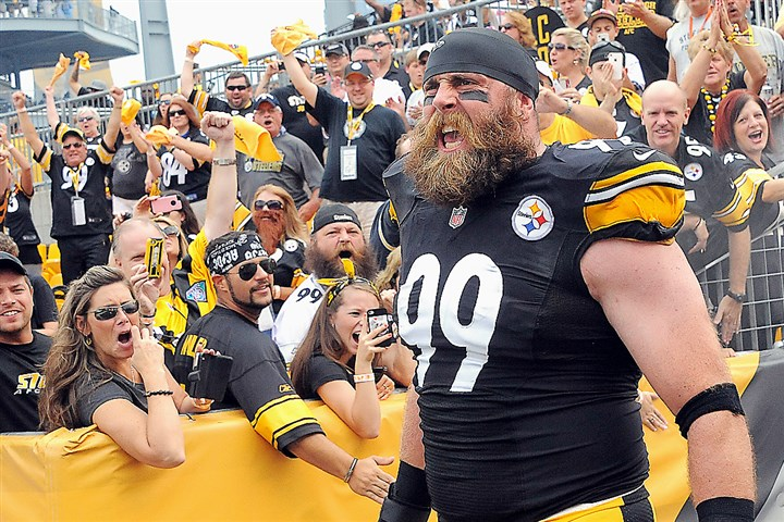 steelers_keisel_opener.jpg Brett Keisel makes his way onto the field for the Steelers home opener, past the cheering fans on September 8, 2013.