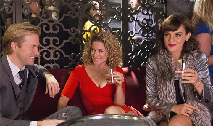 "Mixology Adam Campbell, left, as Ron, Alexis Carra as Jessica and Frankie Shaw as Fabienne in ABC's ""Mixology."""