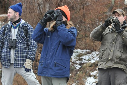 Bird count Todd Katzner, left, and Erin Estell, center, both National Aviary staffers from Glenshaw, and Brady Porter, of Hampton, take part in the Audubon Society's Christmas bird count along Pine Creek in Hampton in 2009.