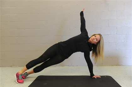 EXERCISE 11 / PUSHUP AND ROTATION PART 2 EXERCISE 11 / PUSHUP AND ROTATION PART 2: Start in plank position. Do a pushup, then shift your weight to one side, rotate your body and raise your arm. Return to the start position, do another pushup, then rotate your body to the other side.