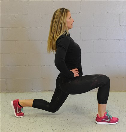 EXERCISE 10 / LUNGES EXERCISE 10 / LUNGES: Stand with your feet parallel, hip distance apart. Take a giant step forward. Slowly lower your body by bending both knees. Bend them no farther than 90 degrees. Keep your front knee aligned over your front ankle. Return to the start position, then lunge with the other leg forward.