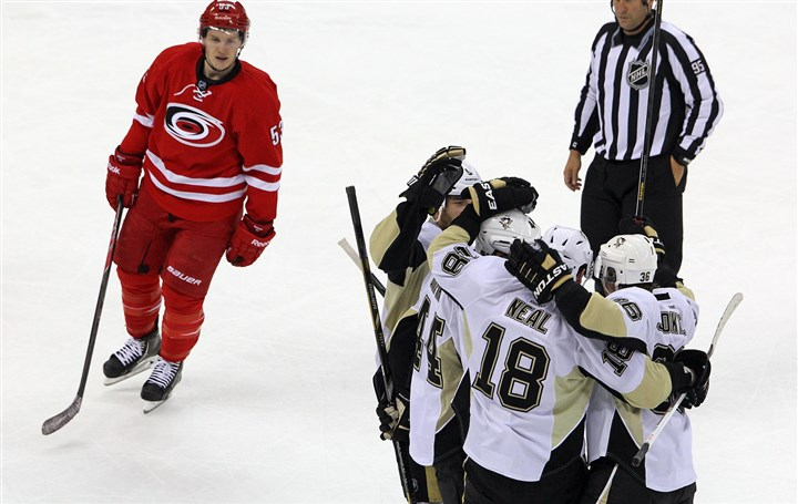 Hurricanes Jeff Skinner Pens James Neal  The Hurricanes Jeff Skinner skates to the locker room Friday after James Neal (18) scored the winning goal in overtime in Raleigh, N.C.