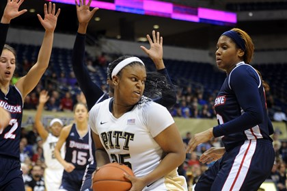 20131229jrWPittSports4-3 Pitt's Brittany Gordon looks for an open teammate during the City Game between Pitt and Duquesne Sunday night at the Petersen Events Center.