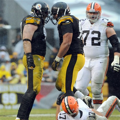Brett Keisel and Cameron Heyward Steelers' Brett Keisel and Cameron Heyward celebrate after forcing Browns quarterback Jason Campbell to fumble in the first quarter at Heinz Field in December.