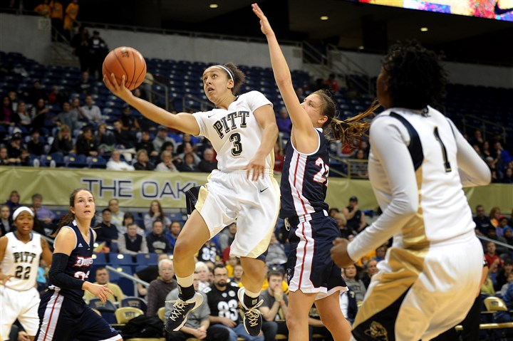 20131229jrWPittSports2-1 Junior guard Brianna Kiesel goes for a layup during the City Game between Pitt and Duquesne in December at the Petersen Events Center.