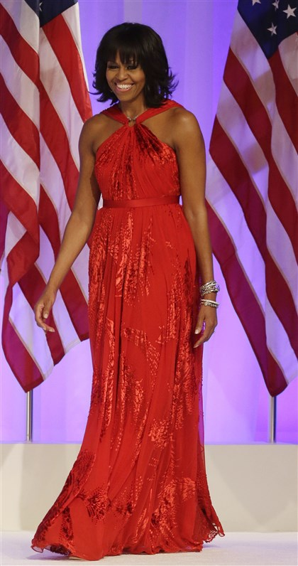 Inaugural Balls Obama Michelle Obama's Inaugural Ball gown was a chiffon-and-velvet halter dress designed by Jason Wu.