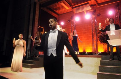 OperaMaecenas Jasmine Muhammad, Kyle Oliver and Samantha Korbey perform during the Pittsburgh Opera Maecenas XXIX.