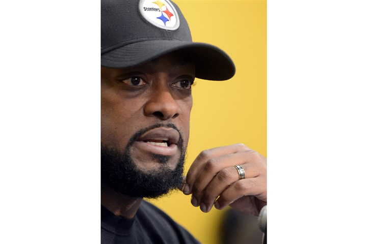 20131230radTomlinSpts04_3x2.jpg Steelers head coach Mike Tomlin speaks at his final weekly news conference of the season Monday at the team's South Side practice facility.