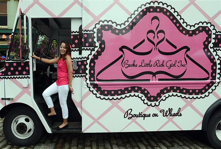 Lugo Samantha Lugo with her mobile boutique, Broke Little Rich Girl.