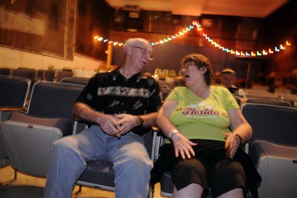 20140103_september.jpg Art and Annette Kreisel of Brighton Heights in a front-row seat at the Parkway Theater in Stowe.
