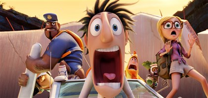 "cloudy ""Cloudy With a Chance of Meatballs 2,"" features the voices of Terry Crews, Bill Hader and Anna Faris."