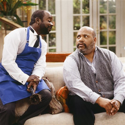 "Obit-James Avery This photo provided by NBC shows Joseph Marcell, left, as Geoffrey, and James Avery, as Philip Banks, in the episode ""Papa's Got a Brand New Excuse"" from the TV series, ""The Fresh Prince of Bel-Air."""