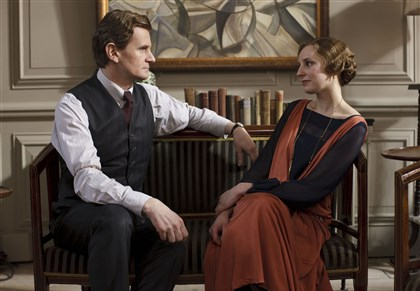 "Downton2 From left, Charles Edwards as Michael Gregson and Laura Carmichael as Lady Edith in ""Downton Abbey."""