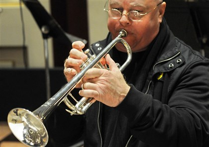 Lake Fong/Post-Gazette Pittsburgh Symphony trumpet player George Vosburgh plays a large-bore silver-plated New York Bach trumpet during rehearsal.