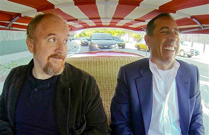 "Seinfelds Talk Show This image released by Crackle shows comedians Louis C.K., left, and Jerry Seinfeld in a scene from Seinfeld's new web series talk show ""Comedians in Cars Getting Coffee."""