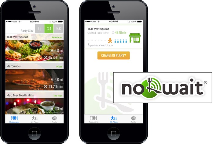 2014 No Wait restaurant app Screenshots from the app by Oakland-based NoWait.